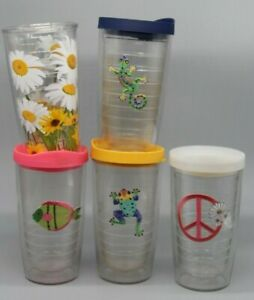 LOT of 5 Nautical Tervis Tumbler Travel Insulated Cup Tropical Embroidered