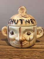 Vintage Two Faced Chutney Pot. Price Kensington England. Cream/Brown Matt Glaze.