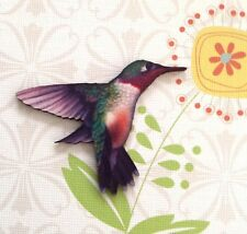 BROOCH Hummingbird wood pin Wooden bird badge jewellery Girl gift pin jewelery