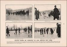 CURLING Matches in New York, antique print, authentic 1905