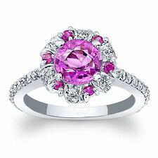 Solid 14K White Gold Real 1.75 Ct Diamond Natural Pink Sapphire Ring All Size