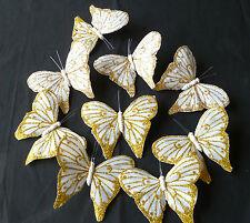 Brillo oro 9 Real Pluma Mariposas apprrox; 10 cm Artesanía Decoración de Navidad/Tortas &