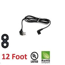 12 foot Power Cord 2 pin Prong Figure 8 Plug 90° Right angled for Samsung TV