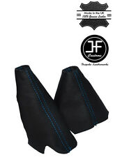 BLUE STITCH LEATHER HANDBRAKE HI-LOW TRANSFER GAITERS FOR LAND ROVER DISCOVERY