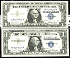 1957, $1 FR-1619 SC 2 Consecutive-Gem-38TH & 39TH-EACH NOTE IS $2480