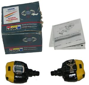 LOOK OEM S2 L Light MTB 2 Bolt Mountain Touring Pedals Yellow Black New NOS