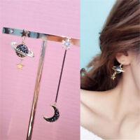 Women Moon Star Planet Drop Dangle Earrings Asymmetric Crystal Jewelry Ear Ring
