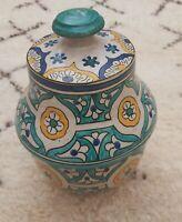 Old Moroccan Blue Vase Ceramic Art Pottery Handmade Bowl Home Decor Vintage Jug