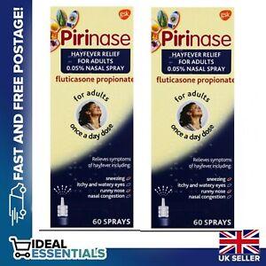 2 X Pirinase Nasal Spray Hayfever Relief for Adults 60 Sprays. Expiry  03/2022