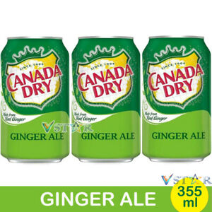 CANADA DRY GINGER ALE AMERICAN SOFT DRINK CANS 355ML