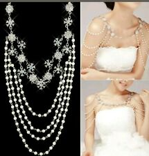 Crystal Wedding Jewelry Bridal Rhinestone Pearl Shoulder Body Chain Necklace