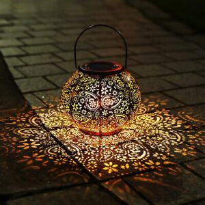Solar Powered LED Morrocan Lantern Hanging Outdoor Garden Lamp Light Decoration