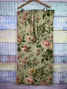 2 Waverly Lined Curtain Panels 42x86 Green Pink Floral Roses Cottage Shabby