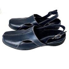 Easy Street Women 9W Sandal Sportster Comfort Wave Blue Mule Slingback 40-1860