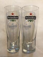Set Of 2 Heineken Pilsner 16 oz Bar Beer Glasses Star Etched Glass Bottom