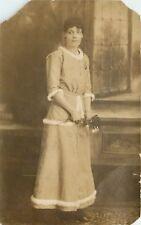 B&W Portrait Woman with Flower Fuzzy Trimmed Dress by Window RPPC Postcard