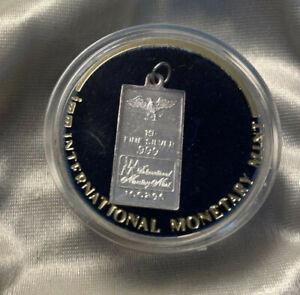 .999 Pure Solid Silver Ingot Pendant International Monetary Mint 11 x 21mm