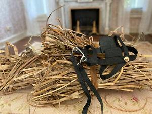 Vintage Miniature Dollhouse 1:12 Artisan Leather Horse Bridal & Bundles of Hay