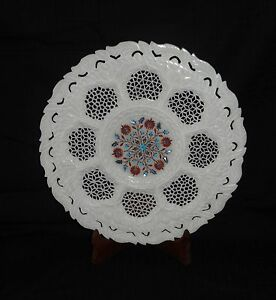 """12"""" Marble Plate Grill Turquoise Carnelian Floral Inlay Best Dining Decor Gift"""
