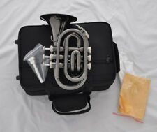 """Top balck nickel Pocket Trumpet B-Flat 4.84"""" Large bell horn with case"""