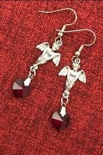 Gothic Angel Crystal Earrings Heart Red Love Medieval Renaissance Silver Pewter
