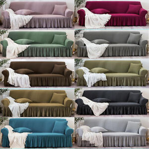 Furniture Sofa Covers Skirt Thicken 2 3 4 Seater Stretch Couches Chair Slipcover