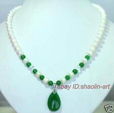 cadeau d'anniversaire ,blanc,perle de culture,collier ,42 cm,vert jade pendentif