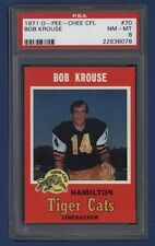 1971 OPC CFL Bob Krouse #70 PSA 8 NM-MT Hamilton Tiger-Cats *LOW POP*