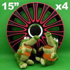 "Hubcaps 15"" LEMANS Wheel Trim Cover BLACK+PINK for SKODA Fabia Octavia Rapid"