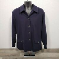 Brooks Brothers Women's Wool Cashmere Jacket Size Large Button Front Navy Blue