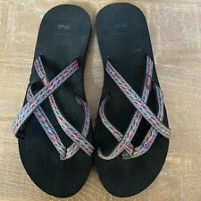 TEVA Womens Olowahu Thong Flip Flop Sandal Shoes Pink Blue Strappy Size 11