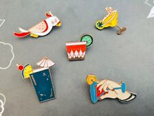 5pc Mixed Alcohol Cocktail Drinks Martini Cute Decor Enamel Pin Brooches C1118