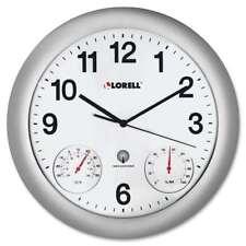 Lorell Analog Temperature/Humidity Wall Clock, Silver - LLR61000