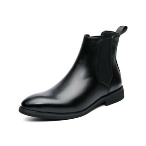 Mens Faux Leather Brown Ankle Chelsea Boots Fashion Pull On Shoes Plus Size