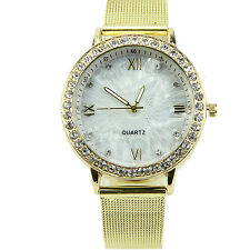 New Deluxe Women Ladies Dress Casual Crystal Golden Plated Mesh Band Wrist Watch