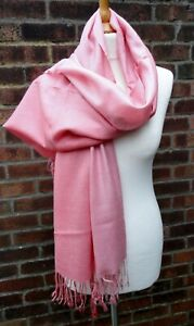 Rose Pink Ombre Shaded Pashima/Scarf/Wrap 30% Silk.  New In Packaging