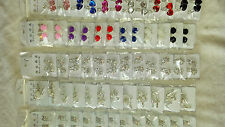 Joblot 60 Pairs Mixed colour Quare Diamante clip on Earrings - new Wholesale 1
