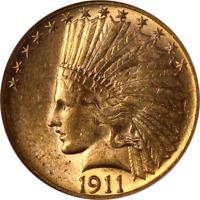 1911-P Indian Gold $10 NGC MS62 Great Eye Appeal Nice Luster Nice Strike
