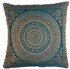 "Teal Indian Ethnic Mandala Silk Brocade Cushion Covers Handmade 15"" Zip Back"