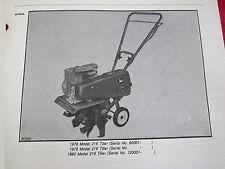 1979 JOHN DEERE 216 WALK BEHIND GARDEN TILLER PARTS CATALOG MANUAL