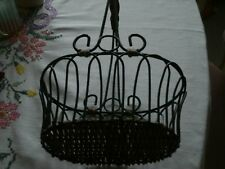 Iron and Wicker  Basket w/Handle/7 1/2 inches wide/10 inches high/Black and Tan