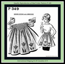 Vintage SMOCKED Tulip EMBROIDERED APRON MAIL ORDER Sewing Pattern #P-349 Flower