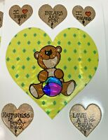 "Vintage 1980's Prism Sticker Sheet -3 1/2"" x 21/2"" Teddy Bear & Hearts"