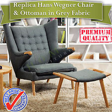 Replica Hans Wegner Papa Bear Chair and Ottoman in Grey Fabric and Walnut base