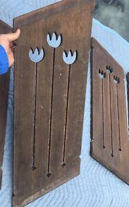 """FOUR ca.1940's DUTCH Wooden WINDOW SHUTTERS w/ 3 Pierced TULIPS Each 28.5"""""""