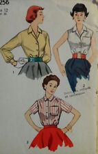 Vtg 50s Versatile & Classic Blouse Shirt  Top Simplicity 4256  Size 12 Bust 30