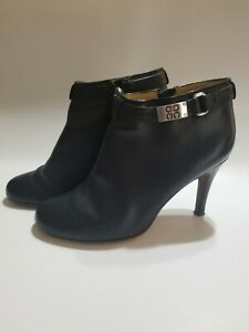 COACH Booties Black Leather Ankle Silver Buckle Women's 8