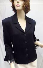 St John Knit EVENING NWOT Black Jacket With White Bell Sleeve SZ 10