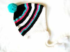 Bula Girls Womens pink turquoise white stripe Peruvian ear hat Ski snowboard