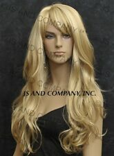 LONG Wavy Layered Blonde Mix Mono skin top WIG w. bangs HSJO 24-613